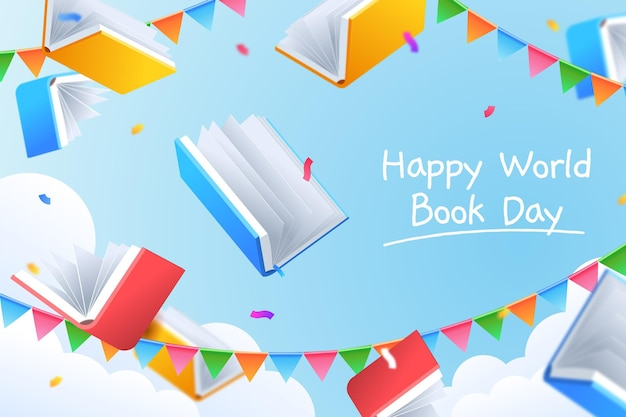 Illustration de la journée mondiale du livre dégradé