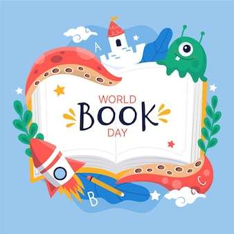 Illustration de la journée mondiale du livre dessiné à la main