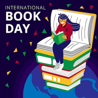 Illustration de la journée mondiale du livre plat bio avec femme lisant sur le dessus de la pile de livres