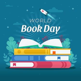 Illustration De La Journée Mondiale Du Livre Plat Vecteur gratuit