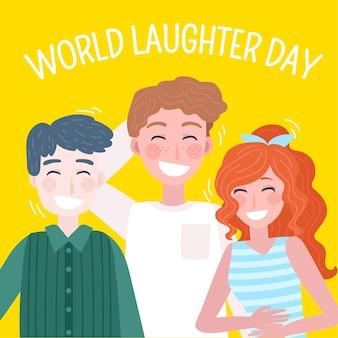 Illustration de la journée mondiale du rire dessiné à la main