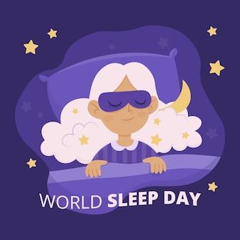 Illustration de la journée mondiale du sommeil dessinée à la main avec une femme