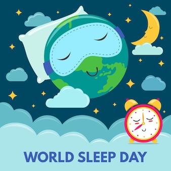 Illustration de la journée mondiale du sommeil avec planète endormie portant un masque