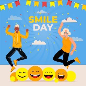 Illustration de la journée mondiale du sourire plat