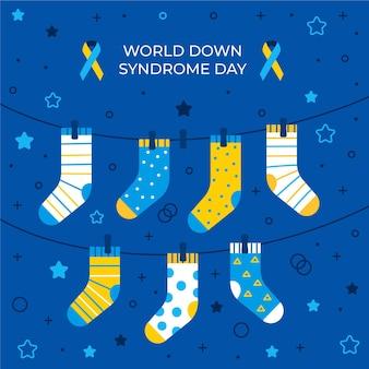 Illustration de la journée mondiale du syndrome de down avec des chaussettes suspendues