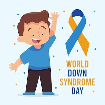 Illustration de la journée mondiale du syndrome de down dessinée à la main avec un garçon en agitant