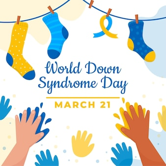 Illustration de la journée mondiale du syndrome de down dessinée à la main avec les mains et les chaussettes