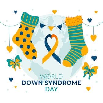 Illustration de la journée mondiale du syndrome de down dessinée à la main avec ruban et ruban