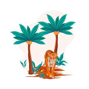 Illustration de la journée mondiale du tigre aquarelle peinte à la main