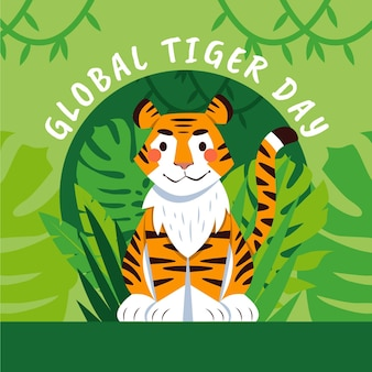 Illustration de la journée mondiale du tigre de dessin animé