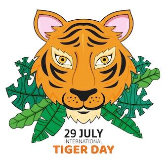 Illustration de la journée mondiale du tigre dessiné à la main