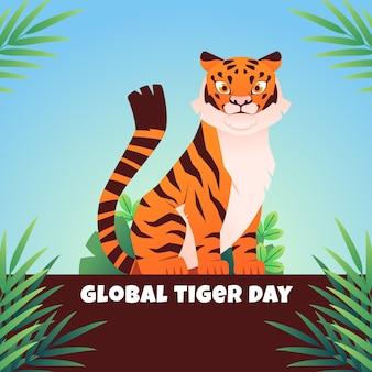 Illustration de la journée mondiale du tigre plat