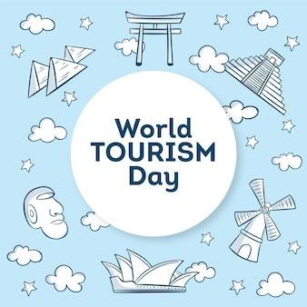 Illustration de la journée mondiale du tourisme dessinée à la main