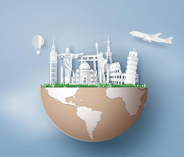 Illustration de la journée mondiale du tourisme, paper art stlye.