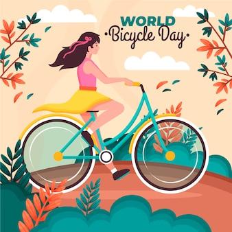 Illustration de la journée mondiale du vélo plat bio