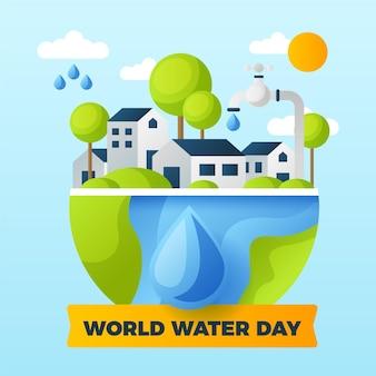Illustration de la journée mondiale de l'eau dessinée à la main