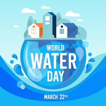 Illustration de la journée mondiale de l'eau plate