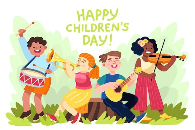 Illustration de la journée mondiale des enfants de dessin animé