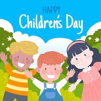 Illustration de la journée mondiale des enfants dessinés à la main