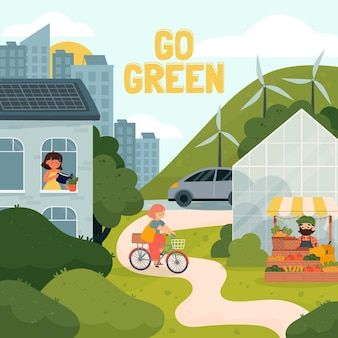 Illustration de la journée mondiale de l'environnement dessiné à la main