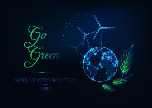 Illustration de la journée mondiale de l'environnement avec la planète terre, des éoliennes, des feuilles vertes et du texte passe au vert