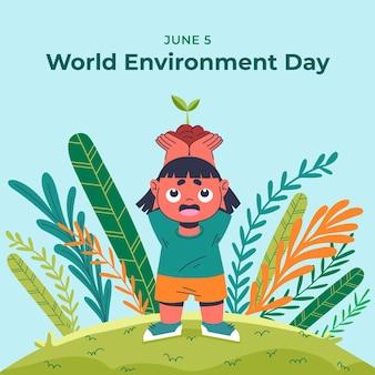 Illustration de la journée mondiale de l'environnement plat organique