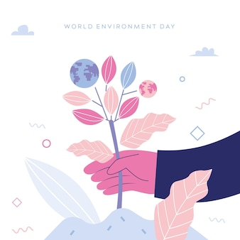 Illustration de la journée mondiale de l'environnement plat