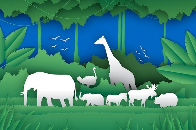 Illustration de la journée mondiale de la faune dans le style de papier