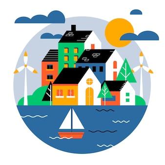 Illustration de la journée mondiale de l'habitat avec ville et bateau