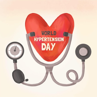 Illustration de la journée mondiale de l'hypertension dessinée à la main