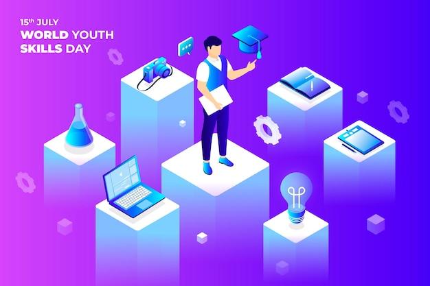 Illustration de la journée mondiale isométrique des compétences des jeunes