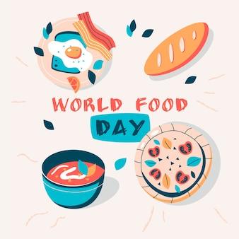 Illustration de la journée mondiale de la nourriture dessinée à la main