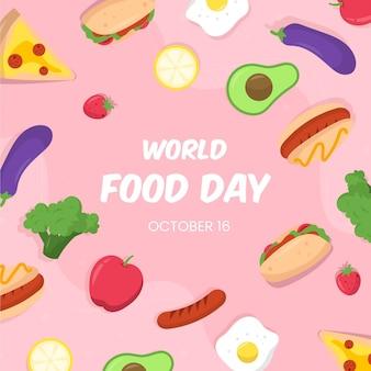 Illustration de la journée mondiale de la nourriture plate