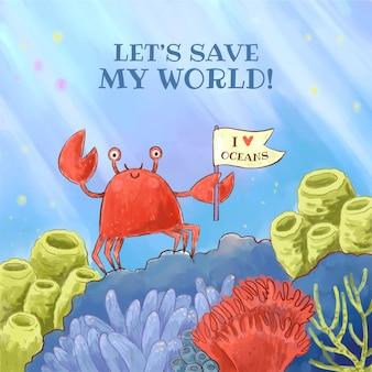 Illustration de la journée mondiale des océans aquarelle peinte à la main