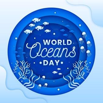 Illustration de la journée mondiale des océans dans le style de papier