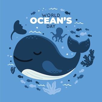Illustration de la journée mondiale des océans dessinée à la main