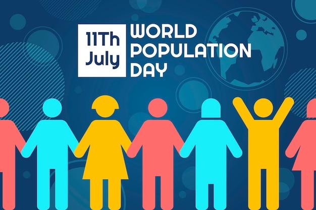 Illustration de la journée mondiale de la population plate