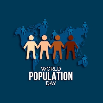 Illustration de la journée mondiale de la population en style papier