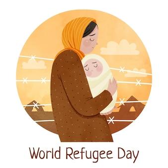 Illustration de la journée mondiale des réfugiés aquarelle peinte à la main