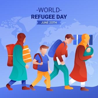 Illustration de la journée mondiale des réfugiés dégradé