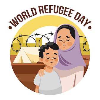 Illustration de la journée mondiale des réfugiés de dessin animé