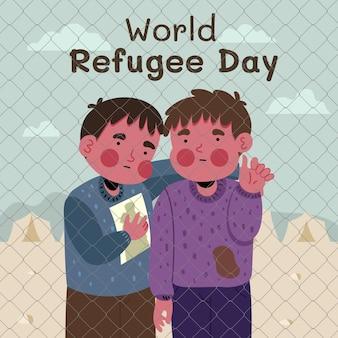 Illustration de la journée mondiale des réfugiés dessinée à la main