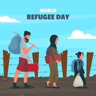 Illustration De La Journée Mondiale Des Réfugiés Vecteur gratuit