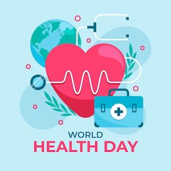 Illustration de la journée mondiale de la santé avec coeur et stéthoscope