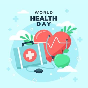 Illustration de la journée mondiale de la santé avec coeur et trousse de premiers soins