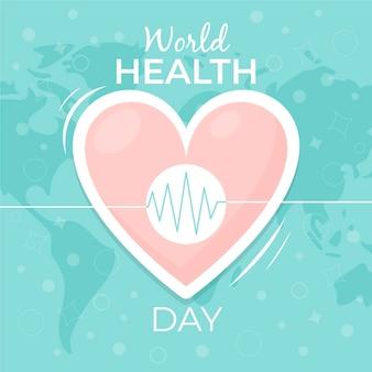 Illustration de la journée mondiale de la santé avec coeur