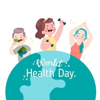 Illustration de la journée mondiale de la santé dessinée à la main