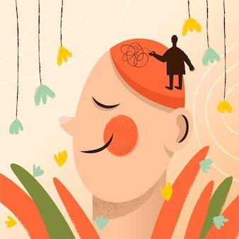 Illustration de la journée mondiale de la santé mentale dessinée à la main