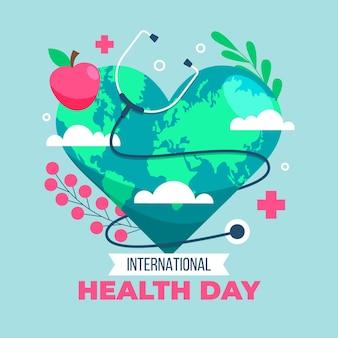 Illustration de la journée mondiale de la santé avec planète en forme de coeur et stéthoscope
