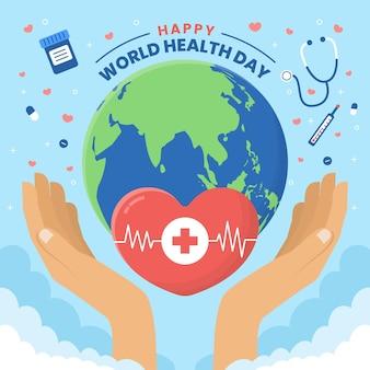Illustration de la journée mondiale de la santé plate